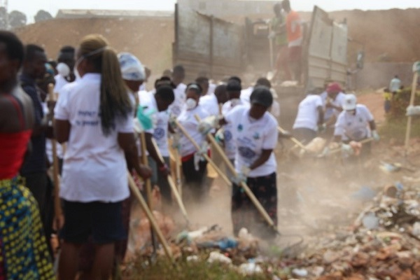 Participants during the wetland cleanup.